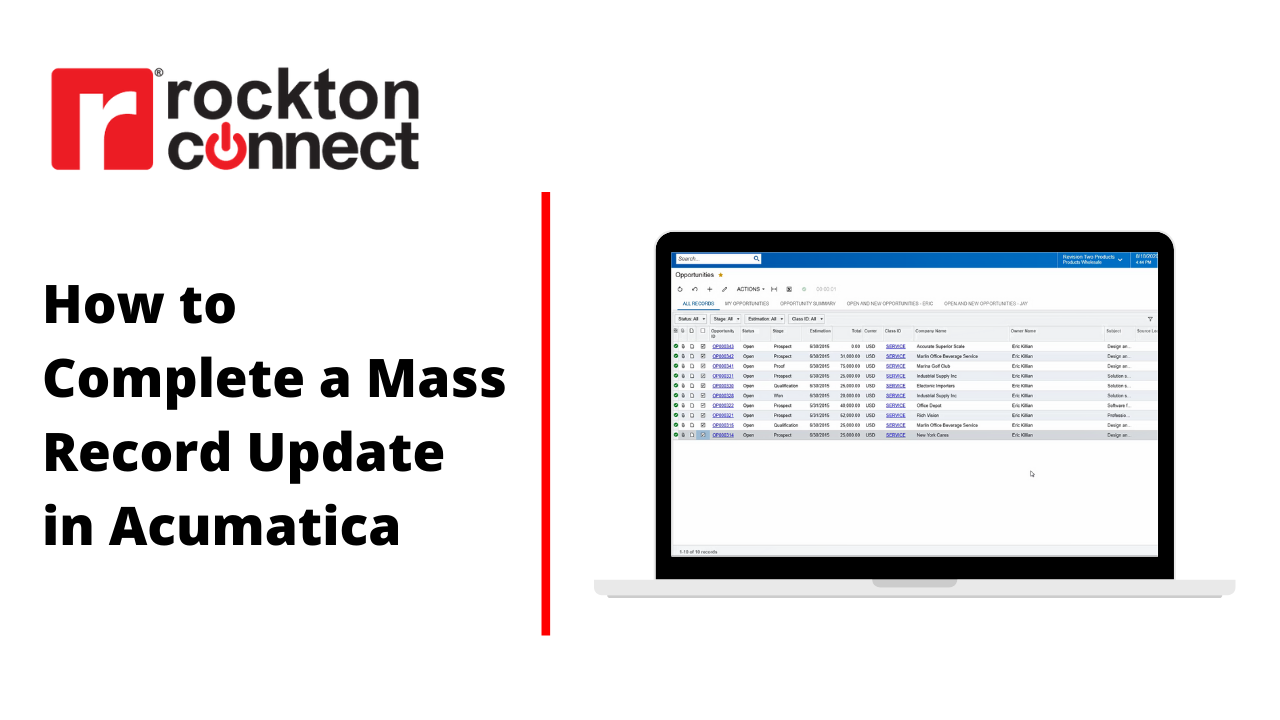 How to Complete a Mass Record Update in Acumatica